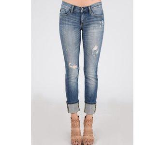 NWT Judy Blue MidRise Distressed Straight Leg Jean